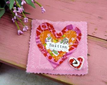Smitten Valentine pin - retro heart fabric pin brooch