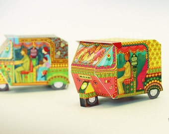 DIY Paper Toy | Bombay Auto Rickshaw Boxes: Set of 2 | Printable Papercraft Letter and A4 size template files | Instant digital download