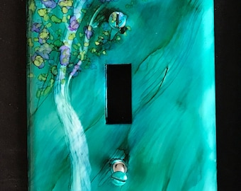 Turquoise w/ Purple and Green Tree - Switch Plate - Handpainted Wall Art Decor