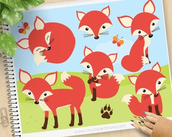 Red Fox Clipart, So Foxy, forest animals, butterfly, woodland animals, paw print, cute fox, commercial use, vector clipart, SVG cut files