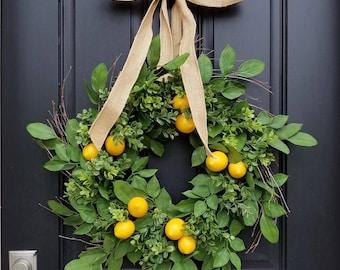 Lemons Wreath, Yellow Lemons Wreath, Boxwood and Lemons, Lemons, Thin Summer Door Wreaths, Narrow Wreaths, Front Porch Wreaths