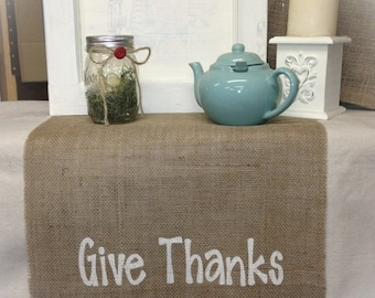 Burlap Table Runner Give Thanks - Holiday decorating Thanksgiving runner Home decor