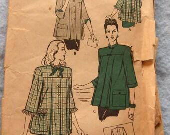 Vintage 40s/50s pattern Butterick 3524 Misses MATERNITY SMOCK sz 14 B 32