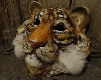 Before Sunrise  Paper mache tiger mask costume animal mask