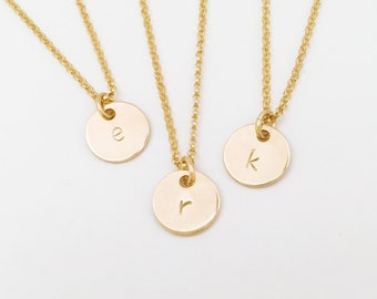 Customized Tiny initial (necklace) - Small 14k Gold Filled disc personalized jewelry