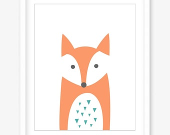 Printable nursery art - fox print - printable kids art - nursery printable animals - nursery poster woodland animal print - INSTANT DOWNLOAD