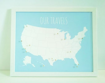 USA Travel Map Pin Board, US Push Pin Map - DIY Kit with Pins - Christmas Gift - Family Vacations Map Our Travels - United States Map 11x14