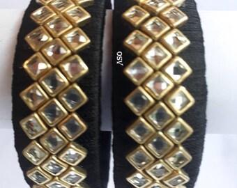 OMSHIVACREATIONS kundanstone silkthread bangles set5(5 pair,black,pink,cream,parrotgreen,red)
