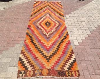 "Zig zag pattern area rug, 10'11"" x 3'6"", Vintage Turkish rug, rugs, area rug, kelim rug, vintage bohemian rug, eccentric rug, anatolian,081"