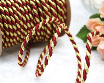 red gold sailor rope string jewelry making craft decoration accessory thick red braided cord knot making festive