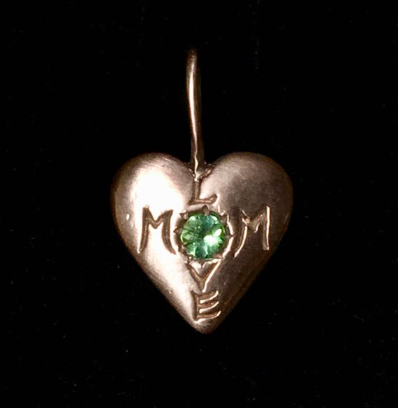 Mom Love Rose Gold and Blue Green Tourmaline Heart Charm