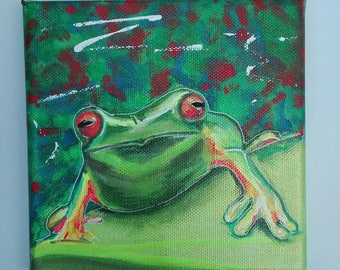 Frog 6 hand painted on square canvas