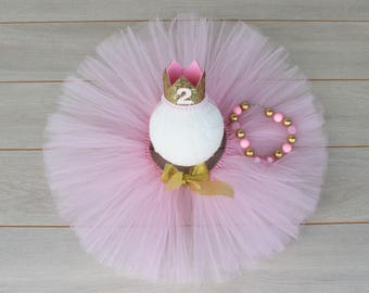 2nd Birthday Pink & Gold 3 Piece Cake Smash Outfit - Tutu, Bubblegum Necklace and Party Crown.