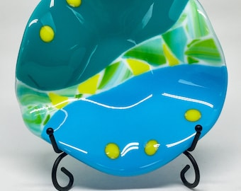 Fused Glass Bowl – Blue and Green Wavy Bowl