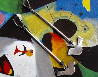 modern bird dangle earrings - sterling silver & iolite