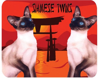 Siamese Twin Cats -  Mouse Mat Mouse Pad