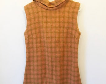 Vintage Original Mod 1960s Salmon Tartan Print Mini Dress