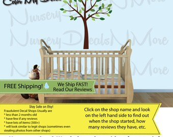 Tree Decal, Green Tree Decal, Nursery Tree Decal (Evergreen Mini Small Tree) MSmTO