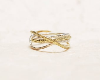 Unique Silver And Gold Ring - 14K Gold and Sterling Silver ring, Mixed metals ring, Unique anniversary ring, Unique birthday gift for her