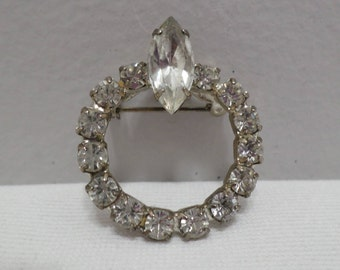 Silver Tone Metal Brooch with Clear Rhinestones Costume Jewelry