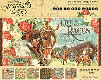 """Graphic 45 """"Off to the Races"""" 8 x 8 Paper pad Cardstock Collection"""