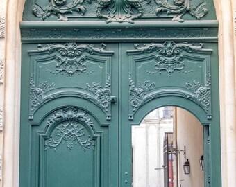 Paris Photograph, Charming Paris Green Door, Architecture Photography, Large Wall Art, Fine Art Photo, Paris Decor