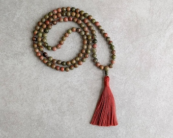 Unakite Mala Prayer Beads - Meditation Necklace - 108 Japa Mala - Yoga Beads - Item # 954
