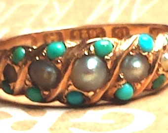 1874 Victorian 15k Gold Turquoise and Pearl Ring