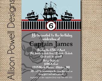 Pirate Party Birthday  - Custom Printable DIY Party Invitation - Boy or Girl