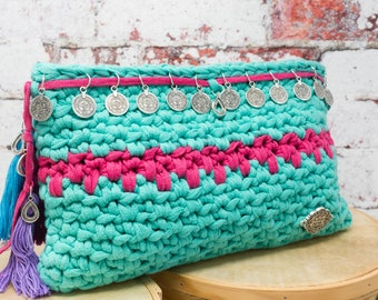 Clutch Hand bag fabric style Boho Chic turquoise and fuchsia colors with lining and zipper. Handmade fabric Clutch.