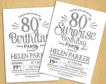 Surprise 80th Birthday Invitation / 70th / 90th / Any Age / Silver White / Printable Silver Foil Effect / Digital  Invite