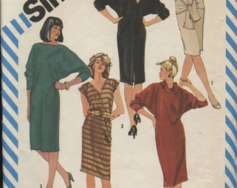 Simplicity 6239 Dohlman Sleeve Knit Dress Size N (10, 12, 14) Retro 80s Vintage Sewing Pattern