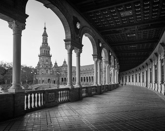 Plaza de España, Seville, Andalusia, Spain, Sevilla, Black and White - Travel Photography, Print, Wall Art