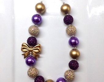 Purple and Gold Christmas Holiday Bubblegum Toddler Girls Necklace