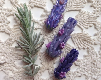Lavender Glass Beads in Bloom Set of Three