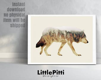 Wolf print, double exposure art print, wolf art, wolf wall art, animal print, instant download, wolf decor, nursery printable, wildlife art