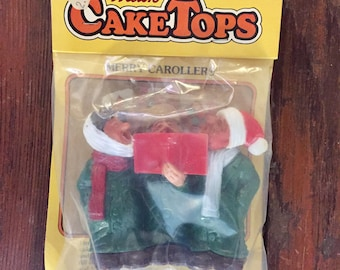 Merry Carollers / Vintage Christmas Decoration / Christmas Carol Singer / Holiday / Cake Topper / Craft Supply / New in Package / Wilton