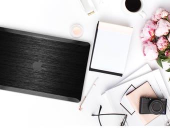 Macbook Pro 13 Case Macbook Air Case Laptop Case Macbook Decal Brushed Black and Black Chrome Edge