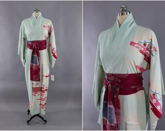 Vintage Silk Kimono Robe / Vintage Dressing Gown / Vintage Lingerie Robe / Loungewear / 1960s Light Blue & Pink Floral Clouds