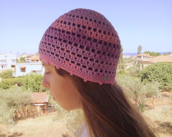 Pink Lilac Purple summer beanie Cotton hat Women Summer Hats Sunhats Lace Skull Cap Chemo Hats Pink Hat for women Cotton beanie Crochet Hats