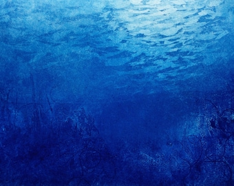 original color etching and aquatint of an underwater scene - in aqua ocean blue