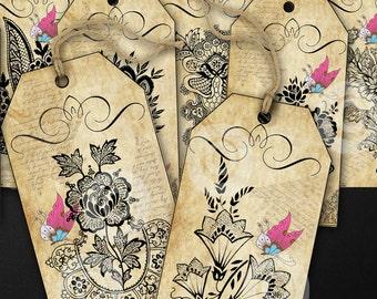 10 Vintage Floral illustrations labels/tags printable digital download