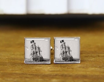 pirate, corsair cufflinks, custom square cufflinks, vintage cuff links, pirate ship cufflinks, tie clip, navigation cufflinks, sailing gifts