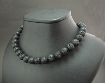 EXPRESS SHIPPING - Lava Stone Statement Necklace - Strand Necklace - Choker - Ready to Gift ,
