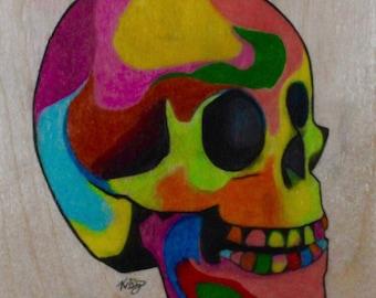 Skull drawing on wood PRINT***
