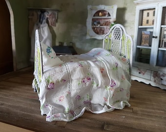 dolls house French style dressed single bed