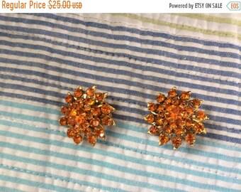 Final Judy Lee Orange Rhinestone Clip On Earrings