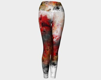 Red Hope Poppies Leggings Mother Daughter Yoga Pants Women's Clothing Workout Active Wear Flowers Floral clothing Printed Leggings Teen art