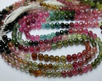 7 Inch strand Super-FINEST,Multi Tourmaline Faceted Round Balls Beads,4.5-5mm