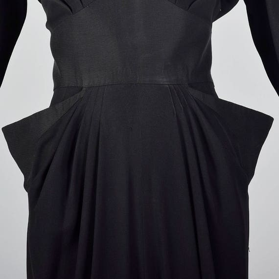 Rayon Black Femme Wear 40s XS Pockets Dress 1940s Evening Cocktail Party Pointed Vintage Formal Little Black Dress Outfit Fatale AHAg1zIq